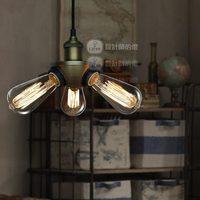 European designer lamps American retro minimalist Ikea creative bar restaurant three bronze chandelier lamp