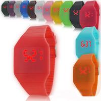 Men/Women Digital Ultra-thin touch screen watch jelly LED Sports Silicone Bracelet  watch Waterproof Wrist Watch
