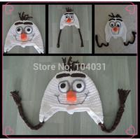 Free Shipping Wholesale cute cotton baby winter hat handmade frozen anna hat ,crochet elsa hat ,frozen snowman olaf hat