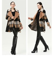 Spring Autumn Winter Clothes Europe Brand Plaid Woolen Outerwear Loose Oversize A-Line Mid-Long Desigual Wool Coat For Women