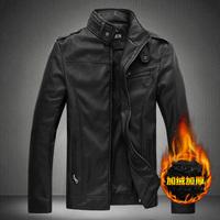 Free shipping famous brand plus size XXL 4xl 5xl 6xl Winter velvet leather jacket leather clothing PU leather jacket slim men's