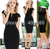 Autumn and winter fashion women's V-neck short-sleeve slim one-piece dress