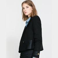 Blazer Women PU Leather Stitching A Metal Buckle Woolen Suit Jacket Lapel Blazers