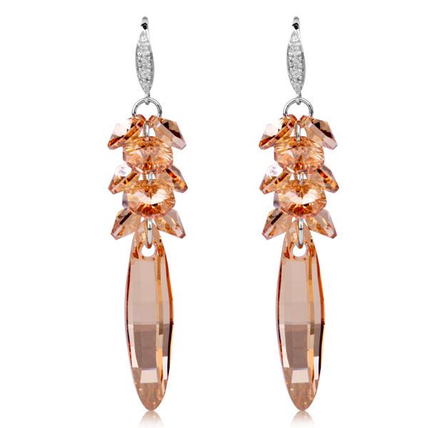Cristal swarovski boucles d'oreilles de mode long gland petillant accessoires design élégant