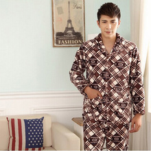 2014 Hot Selling Men's Warm Coral Velvet Pajamas for Autumn and Winter Casual and Comfortable Style Nightwear NST019(China (Mainland))