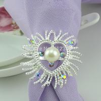 100  Silver Serviette Diamond and Pearl Napkin Ring Wedding Party Favor Bridal Dinner Favour Decor Wedding Bridal Shower