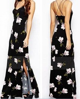 Fashion Women Ladies Casual Bohemia Maxi Long Dress Spaghetti Strap V Neck Floral Butterfly Sleeveless Summer Side Vent Split