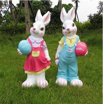 Animal cartoon resin sculpture crafts pastoral home villas green nursery decorations ornaments large rabbit(China (Mainland))