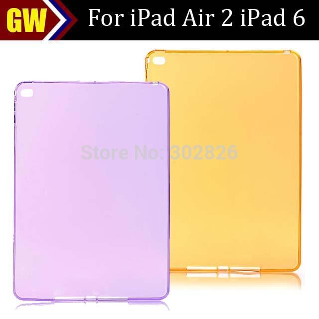 30pcs/lot Free Shipping Transparent TPU Skin Case for iPad Air 2 iPad 6(China (Mainland))