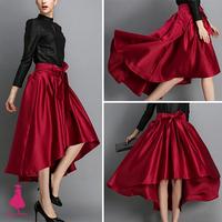 Saia Feminino Saia Curta Bow Hi-Lo Hem Tuxedo Back Asymmetric Fit-and-flare Dovetail TuTu Midi Skirt  Faldas Trendy Women 2014