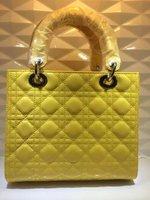 Top quality original brand luxury LADY genuine patent leather yellow silver women's tote fashion handbag free shipping wholesale