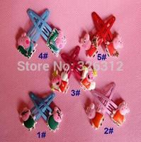 Wholesale girls Peppa pig Doll Metal hair Barrette Head Hair clips hairgrips Christmas gift accessories Hairpin Headwear RJ3051