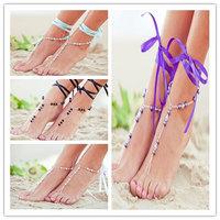 Women Fashion Faux Pearl Chain Bracelet Barefoot Toe Ring Sandal Beach Anklet