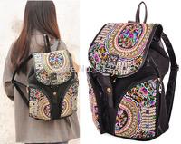 New 2014 Hot Women's Vintage Designer Backpack Bag Canvas Backpacks Rucksack Lucky Moneytree Embroidery Leather Drawstring Rivet