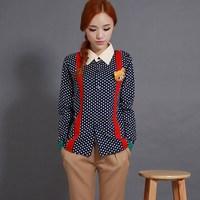 2015 new arrival japanese styles cute & sweety long sleeve blouse shirt polka dot Free shipping 07