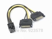 [FREE SHIPPING/EPACKET!] WHOLESALE 20pcs/lot 2 x SATA 15pin Male to PCI Express 6pin Video Card Adapter PSU Power ATX