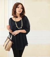 Hot Sale Lady Chiffon Blouse Loose Style Plus Size L-4XL Three  Quarter  Sleeve O-Neck Fashion Women Tops Shirts  Blouses  E5145