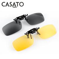 CASATO 2014 Polarized Day Night Vision Clip-on Flip-up Lens Sunglasses Clip Driving Glasses 2 Colors