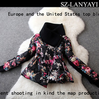 Women Down Jacket Winter 2014 Fashion Large Lapel Embossed Printing White Duck Down Coat Outerwear