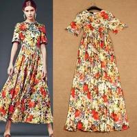 New High Fashion Woman Short Sleeve Floral Chic Maxi Dress Long Chiffon Dress F16576