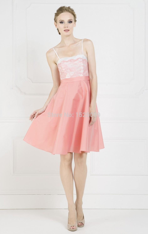 Doce dama de honra vestidos Spaghetti a linha de tafetá na altura do joelho Lace espartilho elegante vestido de menina com Bow Sash Zipper(China (Mainland))
