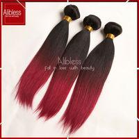 1b/99j/burgundy 6a Peruvian virgin hair ombre hair extensions,4pc lot peruvian virgin hair straight ombre hair,No smell and soft