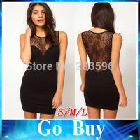 Free shipping YF0008 Women Sexy Chic See-through Black Lace Patchwork Sleeveless mini girls lace dress