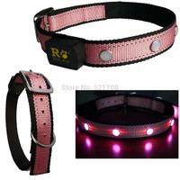 Nylon Puppy Collar Pink Collar Dog, Large Dog Collar Pink Light up LED Pet Collars