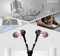 ULDUM 2014 mp3 mp4 bass high quality fashion in-ear earphone with zipper wire