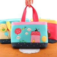Fabric bags cartoon applique fabric handbag shopping bag lunch box bag tote bag