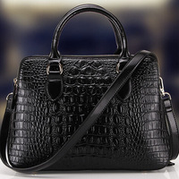 High Grade Double Layer Graceful Black Crocodile Grain 100% Real Leather Tote Handbags For Women Free Shipping C03