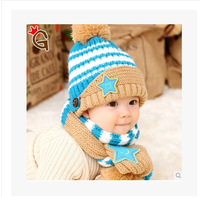 Baby autumn and winter hat baby knitted hat child hat scarf twinset 0-1 year old