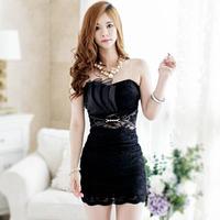 Vestido Romantico 2014 Evening Party Dress Lace Renda Strapless Pencil Dresses Curto Sexy Night Club Wear Black White 2298