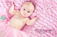 Purple Pink Baby Girls Blanket Photo Prop 2x2 Popcorn Pom Texture Photography Prop. 'Plum Mixed Up' Mini Rug