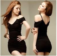 New Women's Dress in black lingerie sexy tight package hip nightclub Slim strapless dress