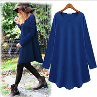 European Style Plus Size Solid Dress Loose Fashion Women Long Sleeve O-neck Dresses For Spring Autumn S-4XL  10306