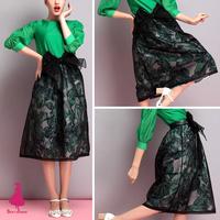 2014 Woman Retro Hepburn Women Bows High Waist Leaf Print Organza A-line Midi Swing Tulle TuTu Midi Skirt Saias Femininas
