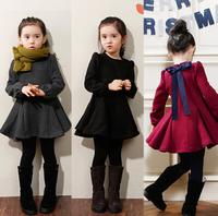 2014 winter Korean children dress girls plus thick velvet bow long-sleeved dress princess dress QZ0148
