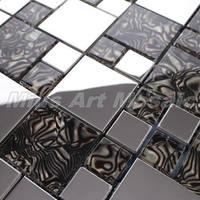 [Mius Art Mosaic] Brownglass tile mixed Silver stainless steel  mosaic kitchen mosaic E5042
