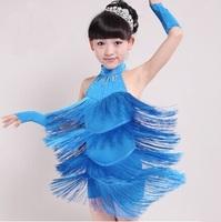 Slim Fringe Shiny Tassels Girl Latin Dance Dress Salsa Dresses Samba Fitness Flamenco Dancing Clothing Ballroom for Girls LD015