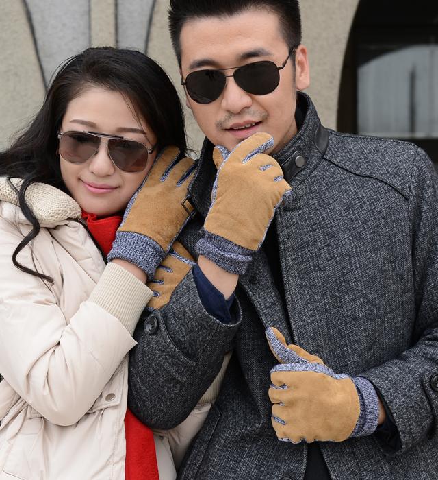 les amateurs de design en cuir gants automne et en hiver thermique toison épaississement gants en cuir doublé fils amoureux des gants en cuir véritable