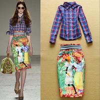 2015 High Fashion Women Plaid Shirt+ Fancy Pencil Skirt  Two-piece Holiday Set Party Wear F16580