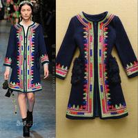 Hot Selling !2014 European Winter Women's Multicolour Flower Disc Vintage Woolen Coat Plus Size F16573