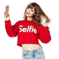 Hot Sale Women Autumn Women Sweatshirt Full Sleeve O-Neck Letter Selfie Print Short Women Hoody Cotton Red Hoodies Crop Tops