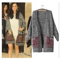2014 Hitz sweater coat loose knit cardigan women hit color Europe and America