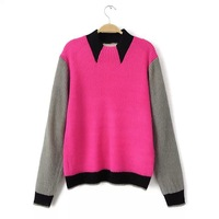 Stylish Contrast Colors Girl Winter Sweaters 2 Colors Long Sleeve False Collar Women Boutique Sweaters YS93428