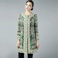 2015 Fashion women's autumn coat long overcoat plus size ladies' elegant O-neck single breasted trench coat slim outwear