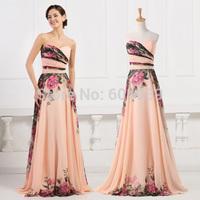2015 Grace Karin Cheap Chiffon Flower Printed A Line Long Evening Dresses Elegant Pleats Prom Dress Women Formal Party Gown 7503
