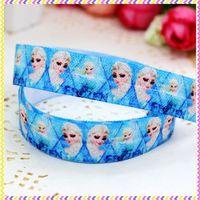 5/8'' Free shipping Fold Over Elastic FOE frozen elsa printed headband headwear hair band diy decoration wholesale OEM P3483
