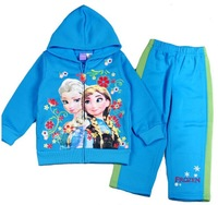 Hot girls Frozen sports clothing set kids princess coat+pants suits children's leisure printed clothing suits in stock